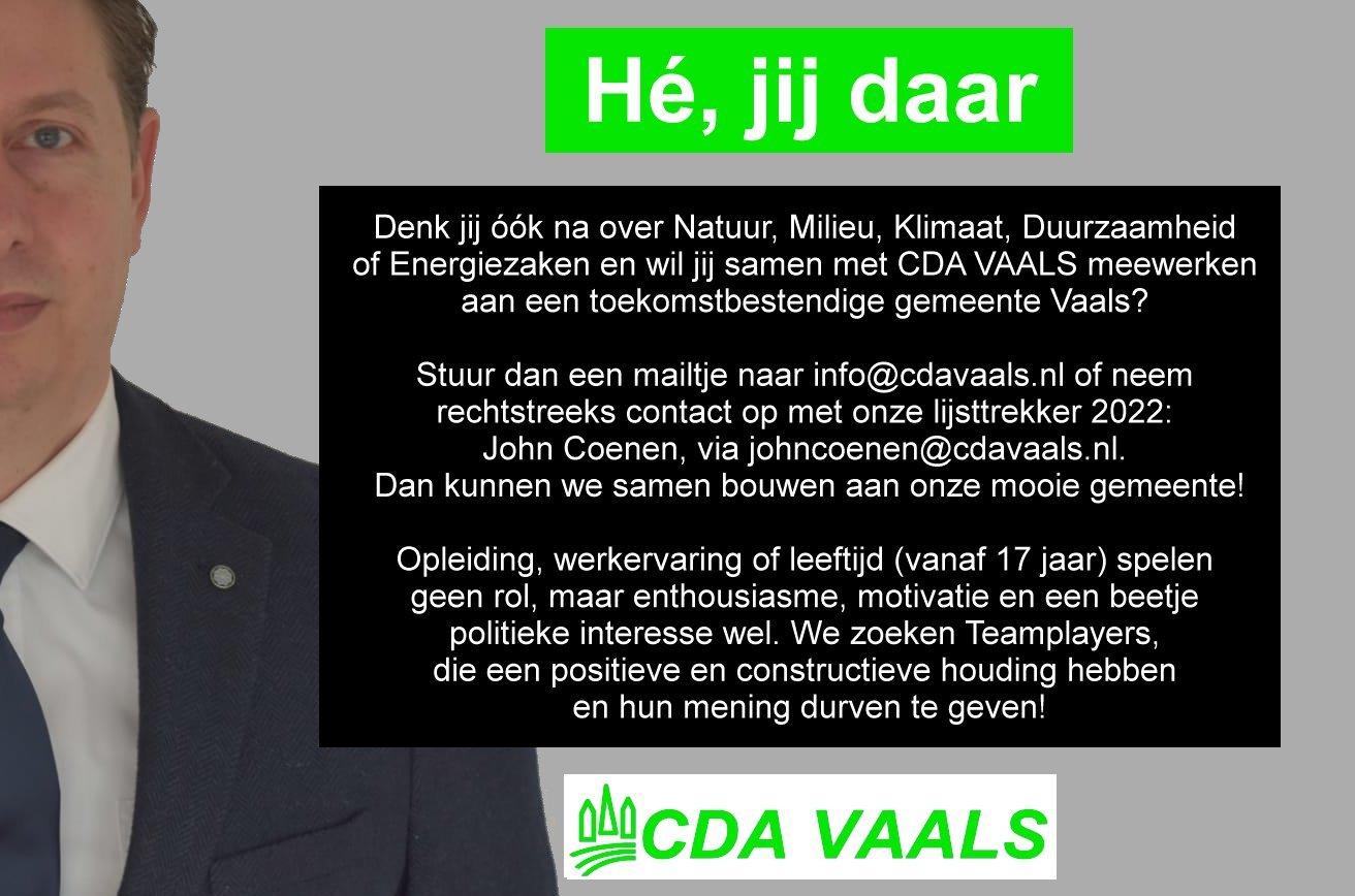 CDA VAALS Wervingscampagne He jij daar John Coenen